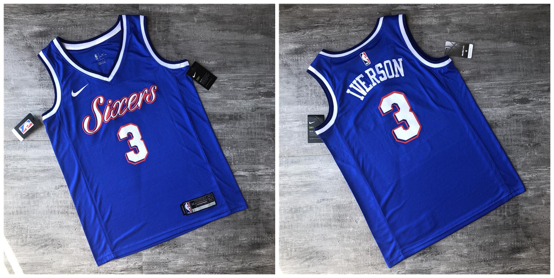 76ers 3 Allen Iverson Blue Printed Nike Swingman Jersey