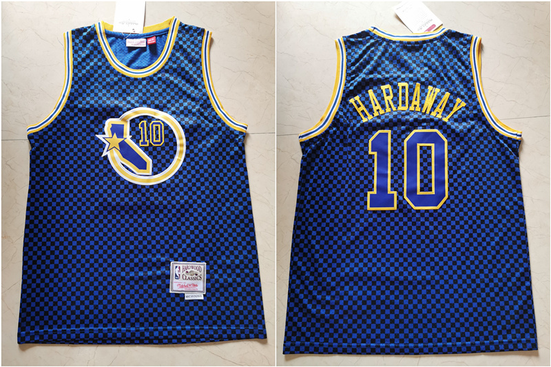Warriors 10 Tim Hardaway Blue Hardwood Classics Jersey