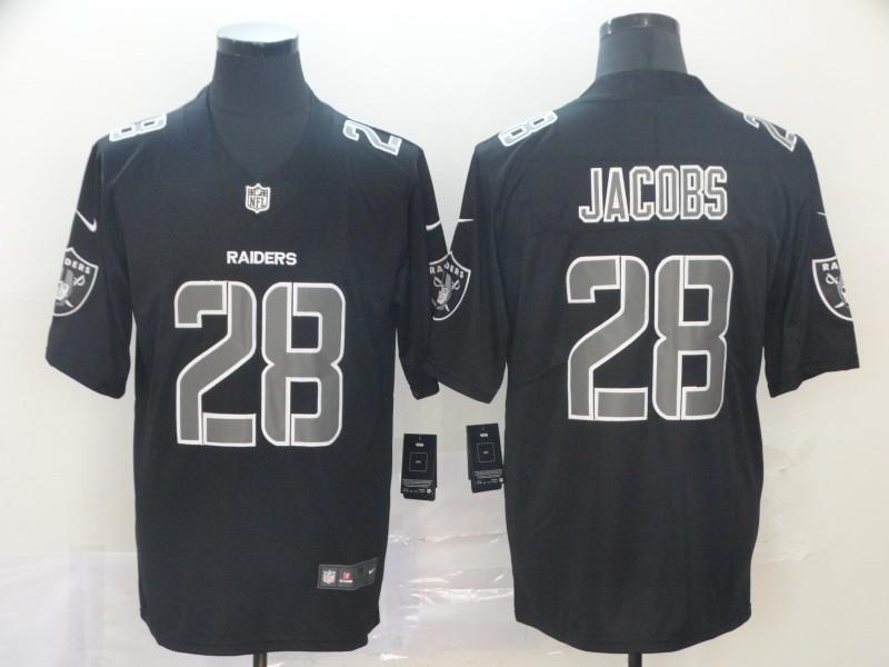 Nike Raiders 28 Josh Jacobs Black Impact Rush Limited Jersey