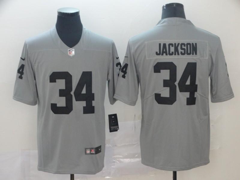 Nike Raiders 34 Bo Jackson Gray Inverted Legend Limited Jersey