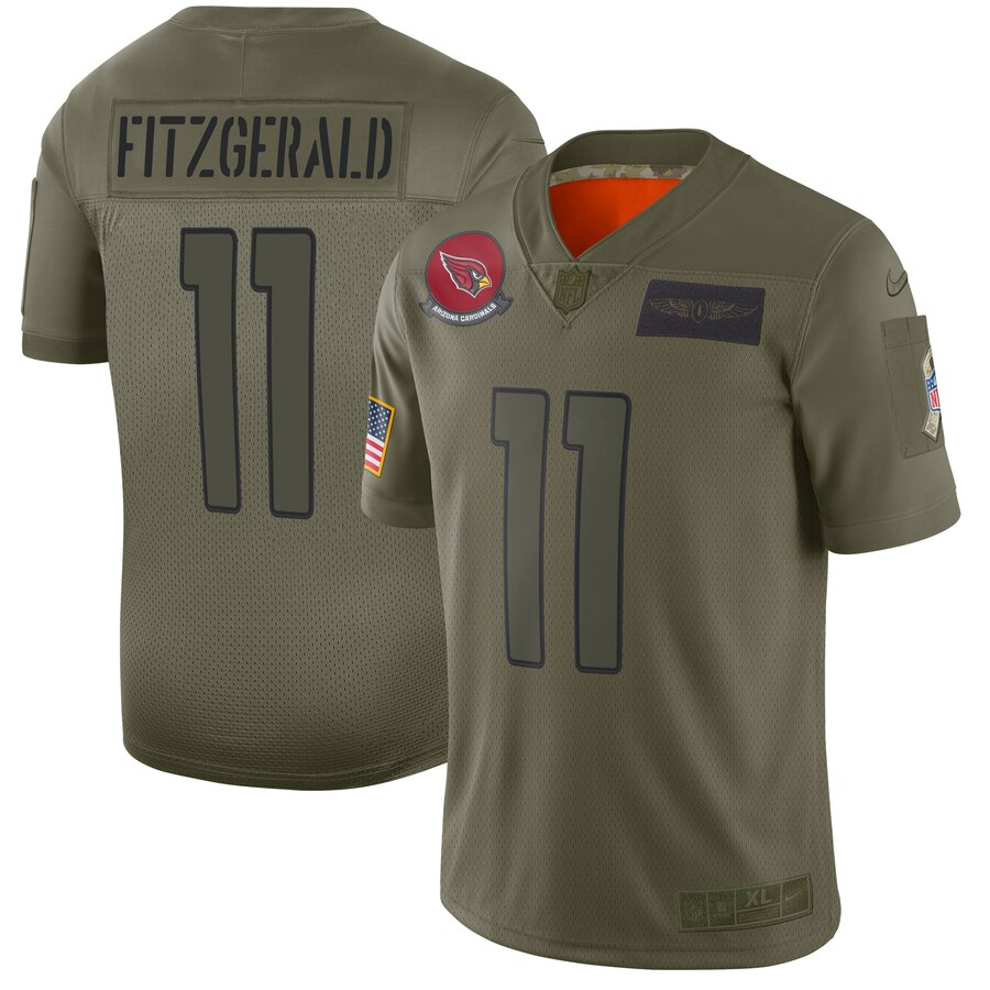 Nike Cardinals 11 Larry Fitzgerald 2019 Olive Salute To Service Limited Jersey