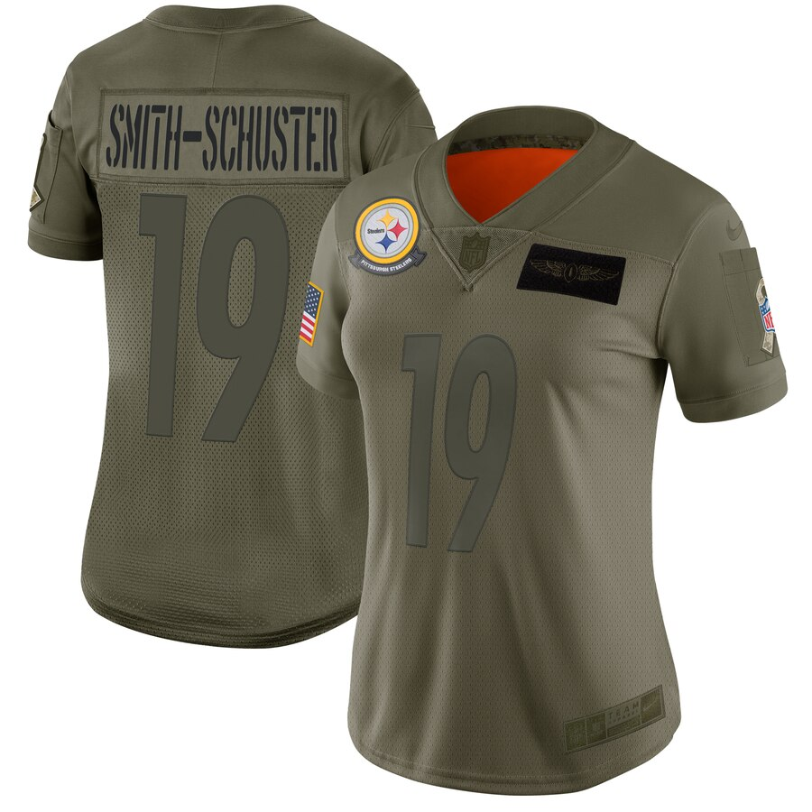 Nike Steelers 19 JuJu Smith-Schuster 2019 Olive Women Salute To Service Limited Jersey
