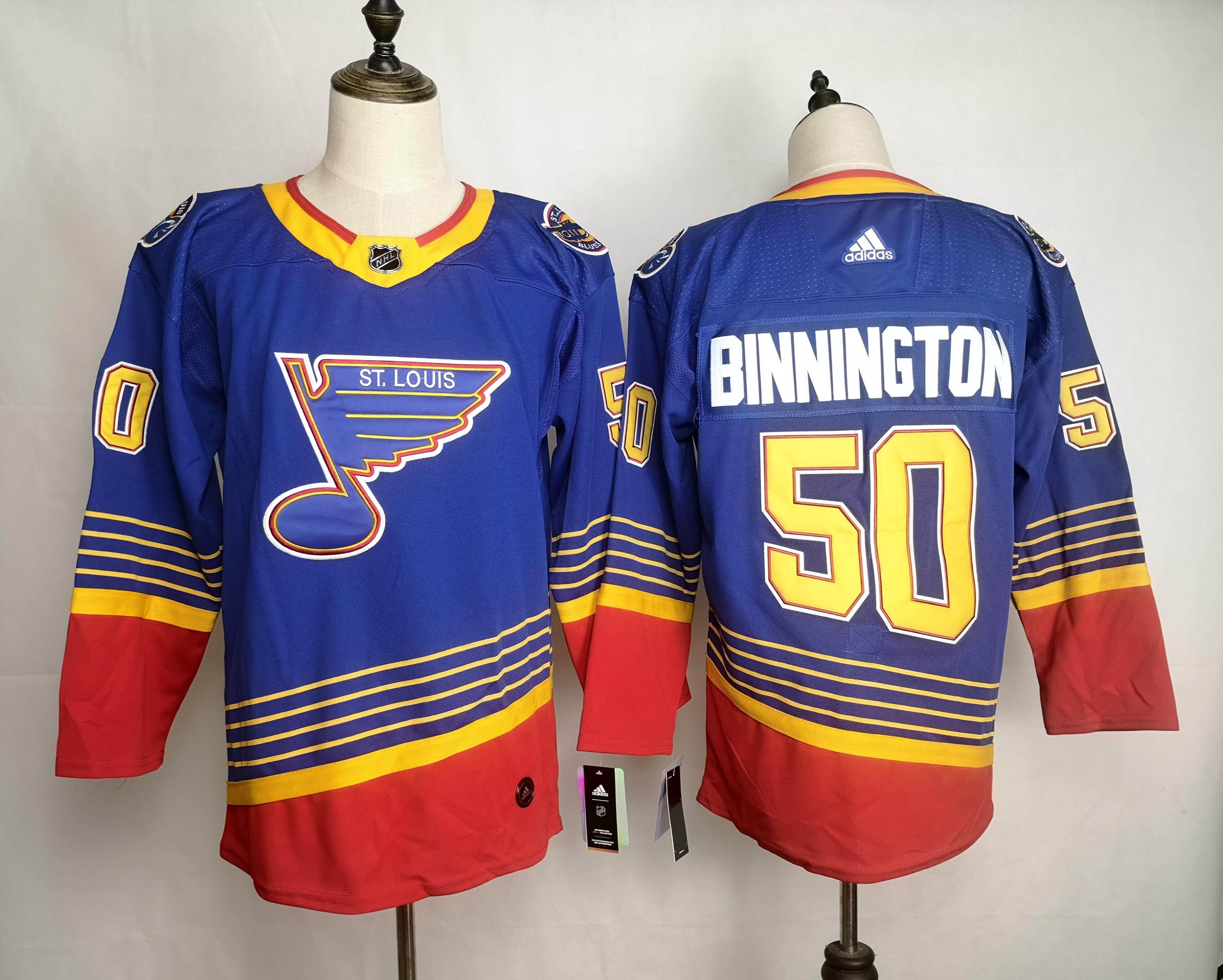 Blues 50 Jordan Binnington Blue Adidas Jersey