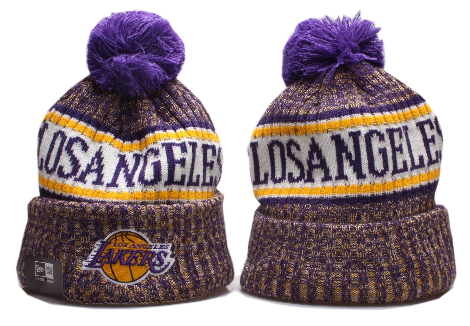 Lakers Team Logo Cuffed Pom Knit Hat YP