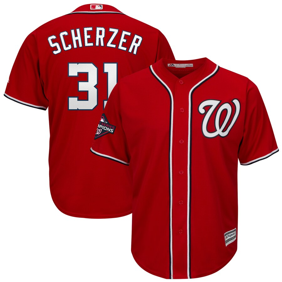 Nationals 31 Max Scherzer Red 2019 World Series Champions Cool Base Jersey
