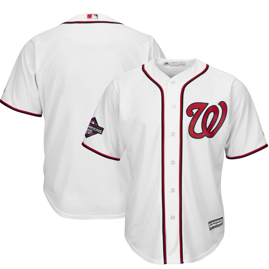 Nationals Blank White 2019 World Series Champions Cool Base Jersey