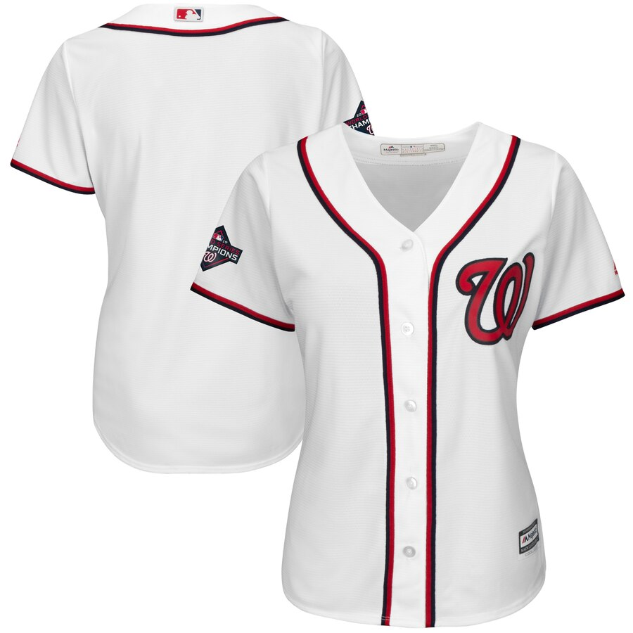 Nationals Blank White Women 2019 World Series Champions Cool Base Jersey