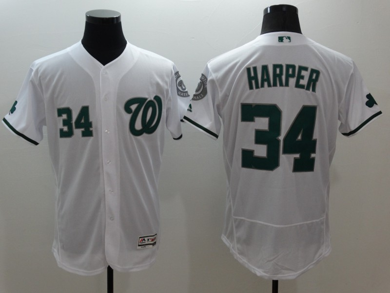 Nationals 34 Bryce Harper White St. Patrick's Day Flexbase Jersey