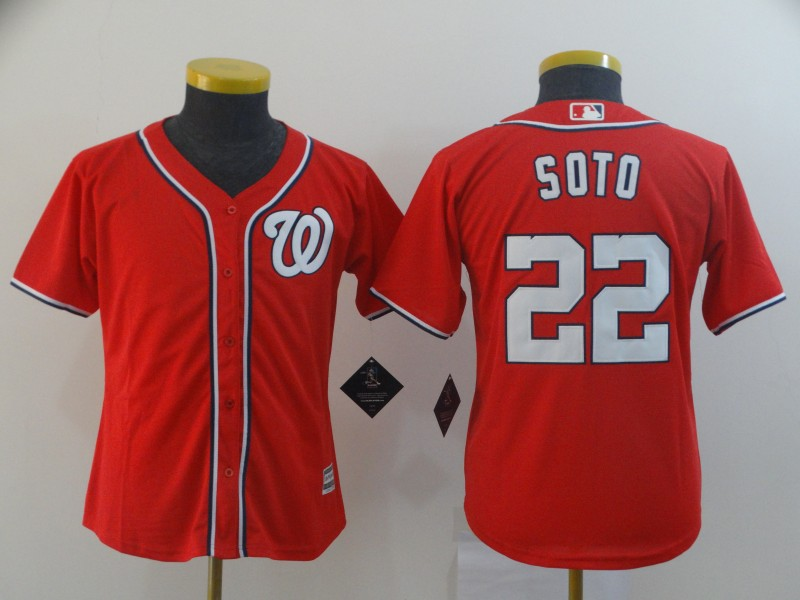 Nationals 22 Juan Soto Red Youth Cool Base Jersey