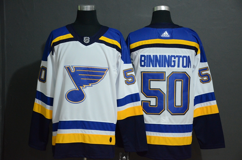 Blues 50 Jordan Binnington White Adidas Jersey