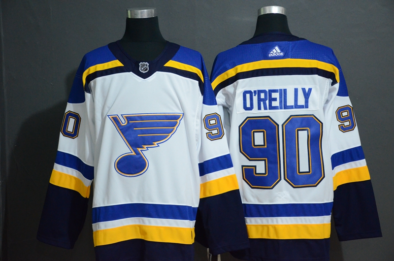 Blues 90 Ryan O'Reilly White Adidas Jersey
