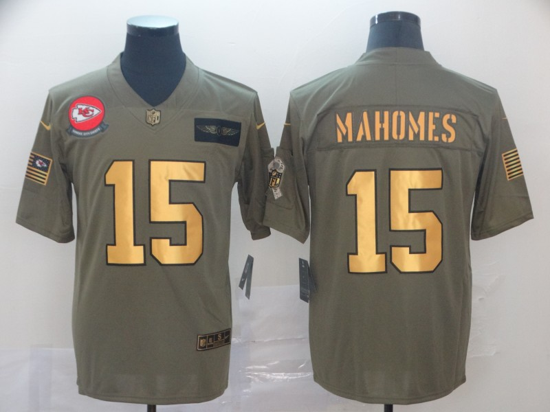 Nike Chiefs 15 Patrick Mahomes 2019 Olive Gold Salute To Service Limited Jersey