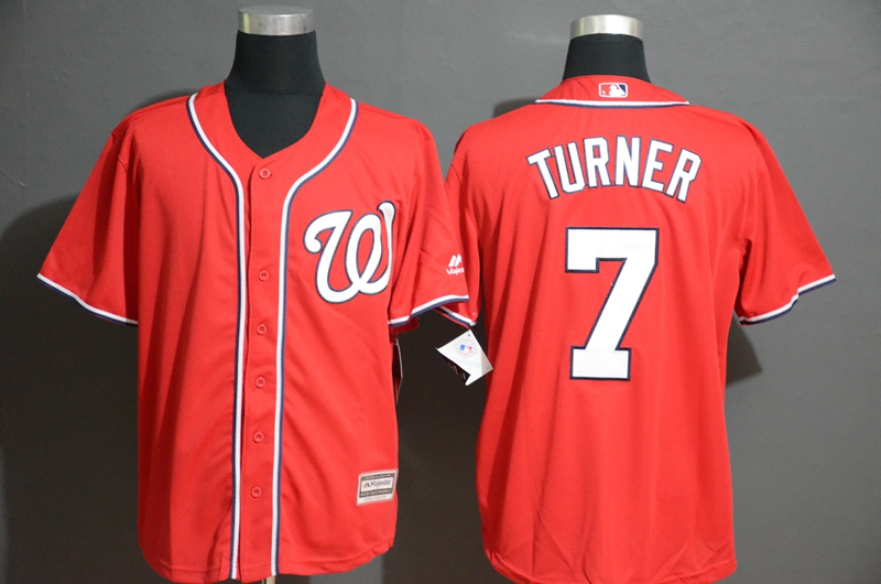 Nationals 7 Trea Turner Red Cool Base Jersey