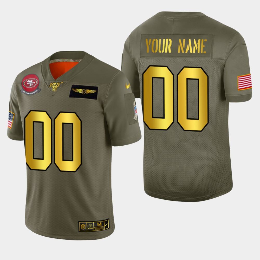 Nike 49ers Customized 2019 Olive Gold Salute To Service 100th Season Limited Jersey