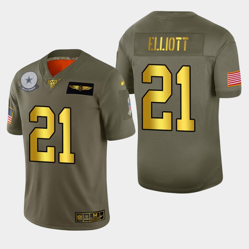 Nike Cowboys 21 Ezekiel Elliott 2019 Olive Gold Salute To Service 100th Season Limited Jersey