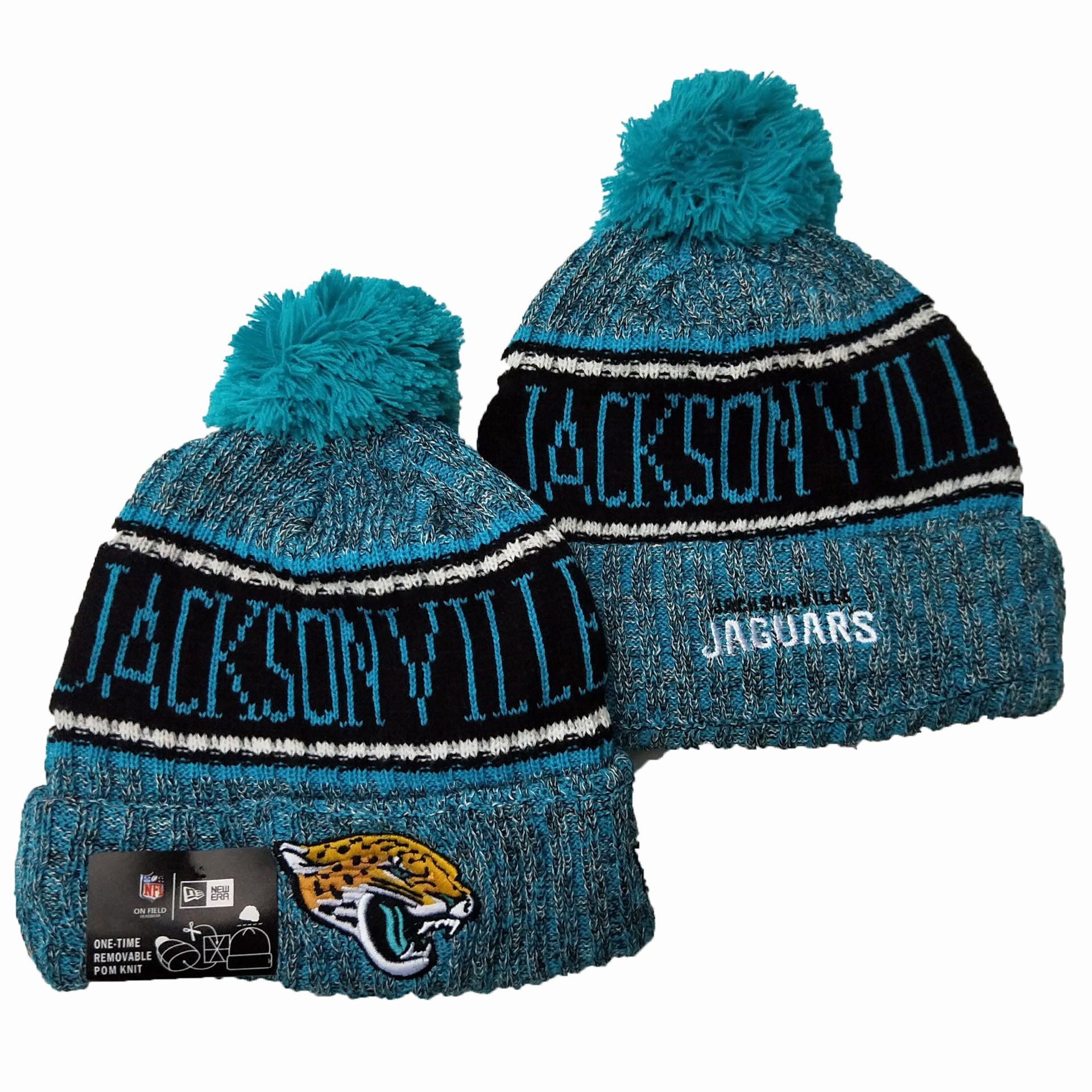 Jaguars Team Logo Blue Pom Knit Hat YD