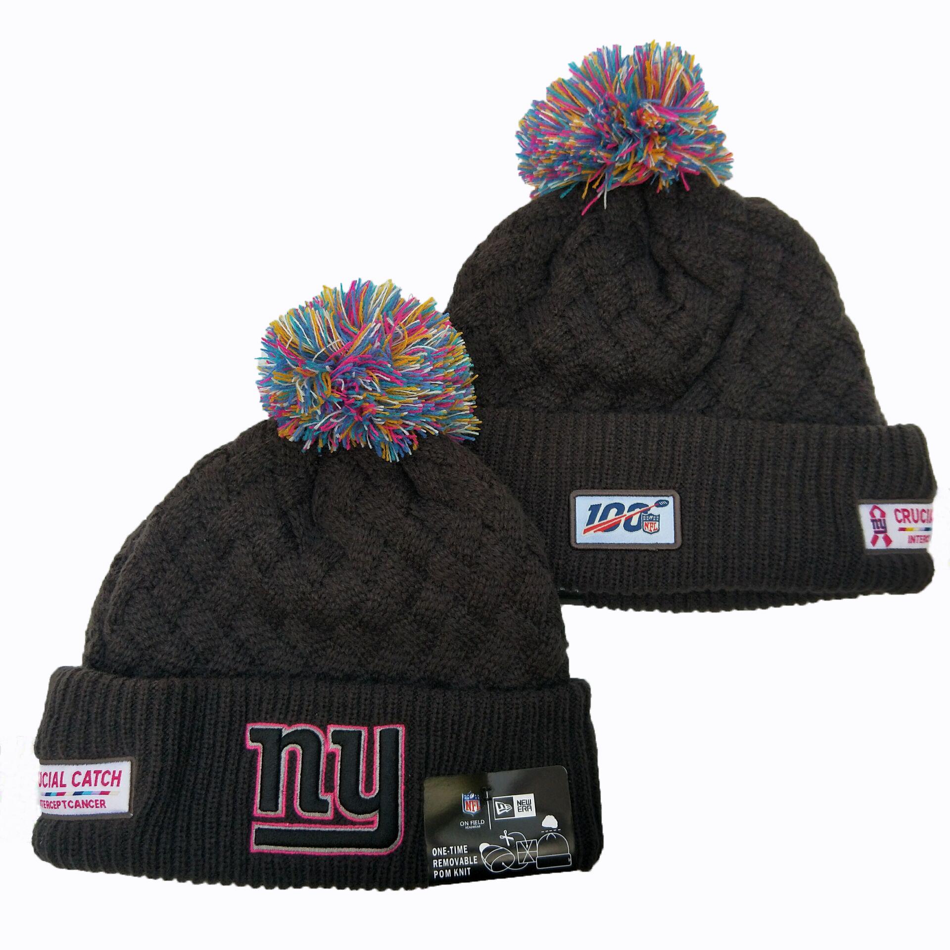 New York Giants Team Logo Black 100th Season Pom Knit Hat YD