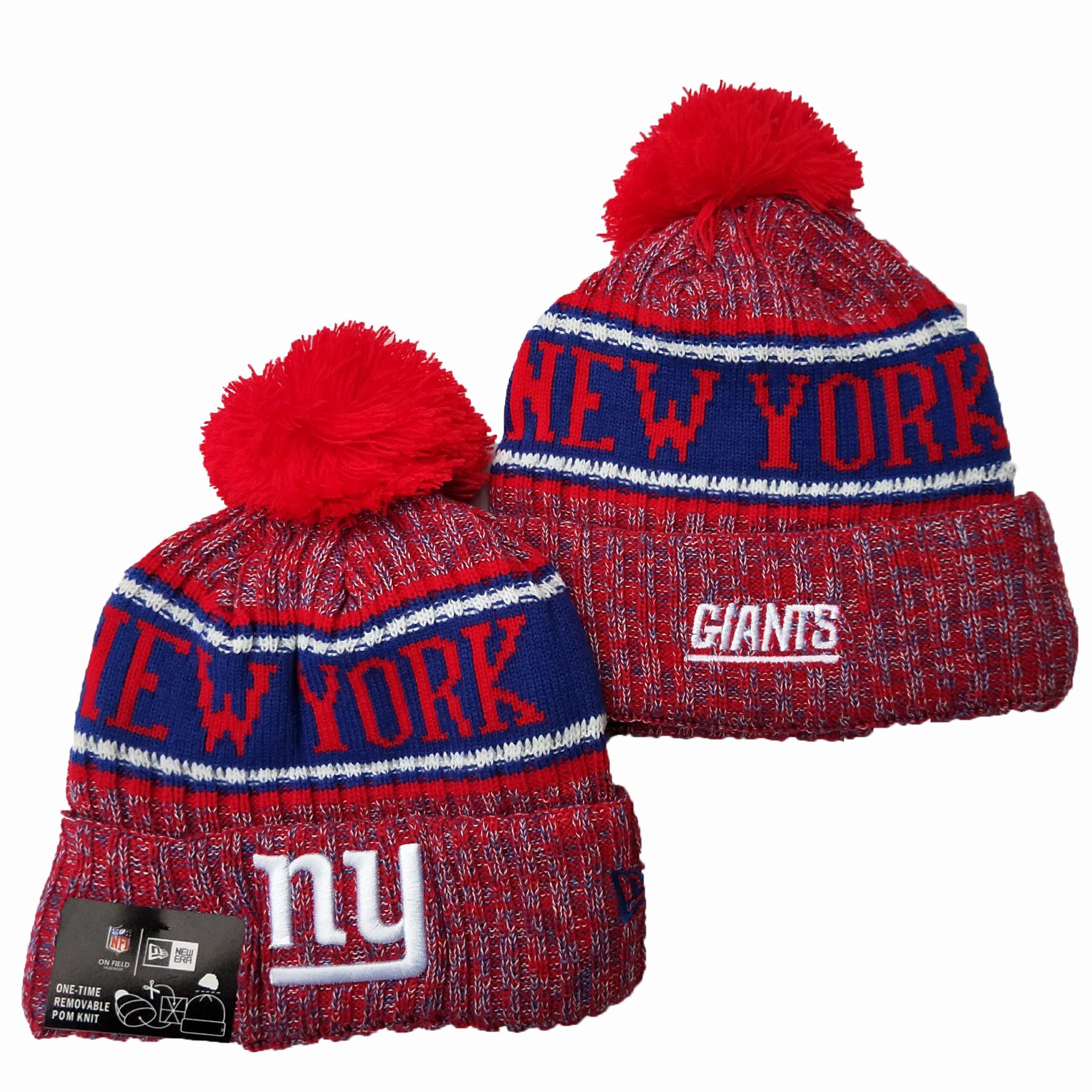 New York Giants Team Logo Red Pom Knit Hat YD