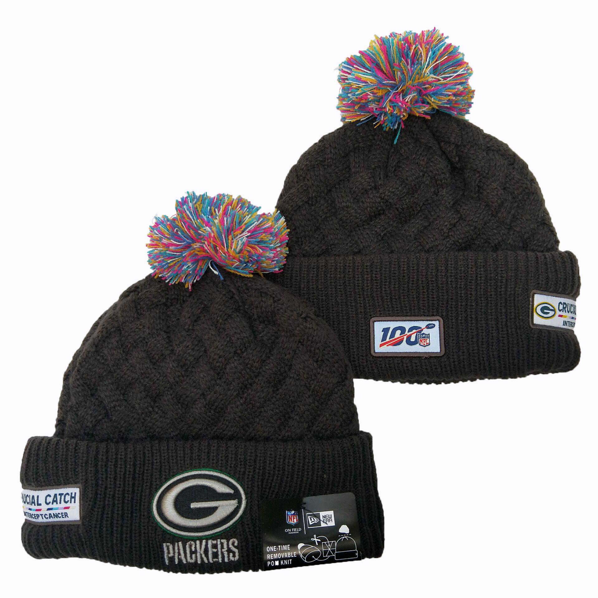 Packers Team Logo Black 100th Season Pom Knit Hat YD
