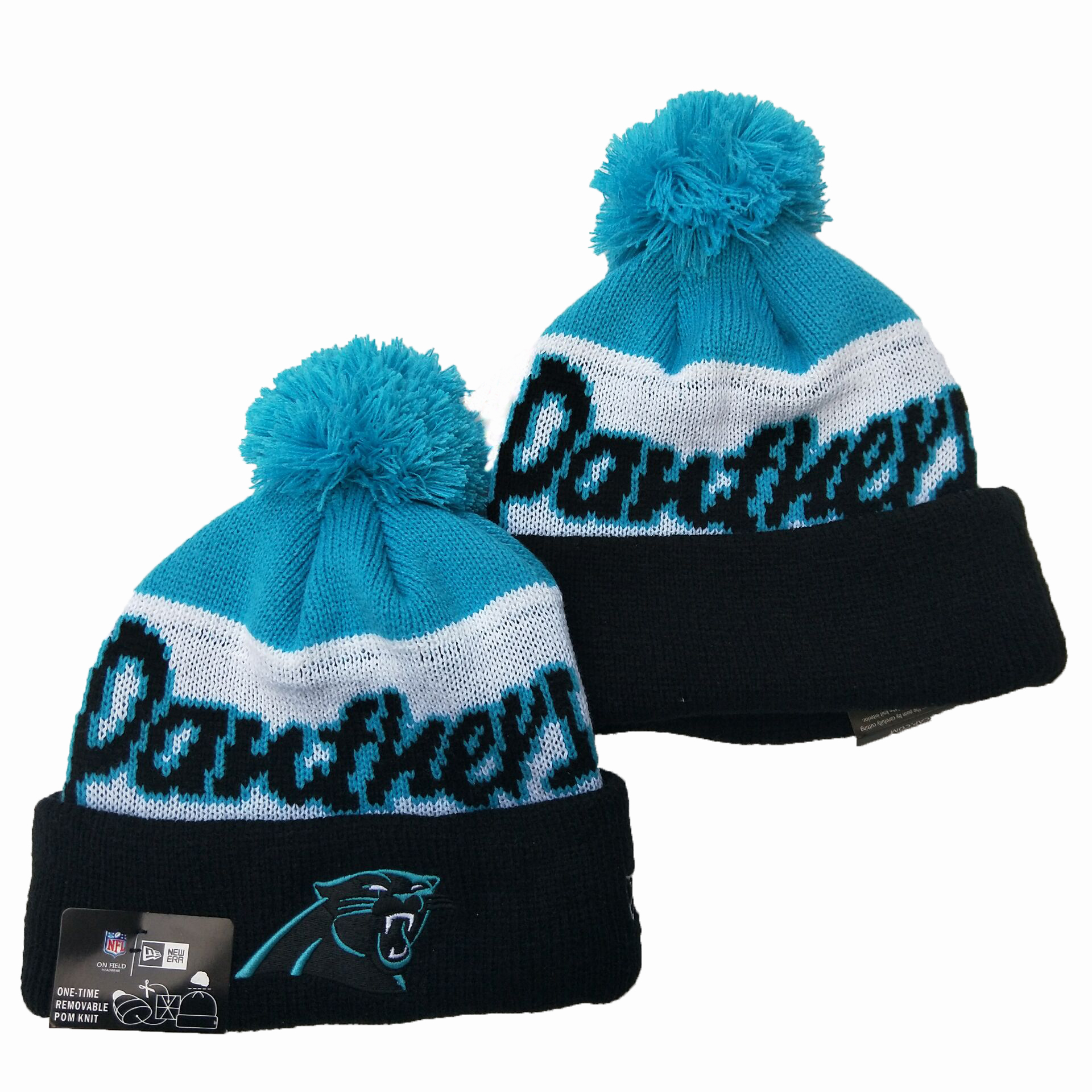 Panthers Team Logo Navy Royal Pom Knit Hat YD