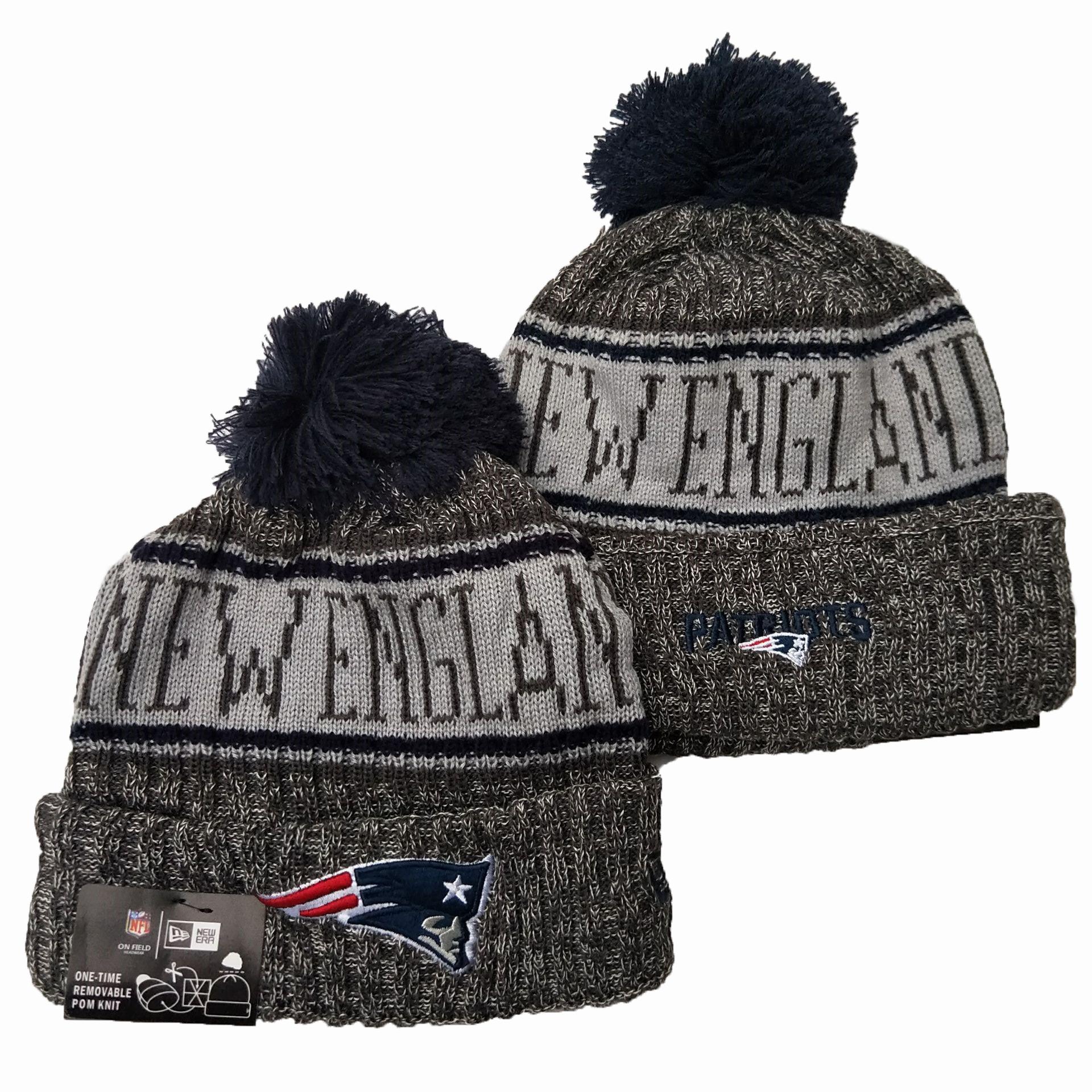 Patriots Team Logo Gray 100th Season Pom Knit Hat YD