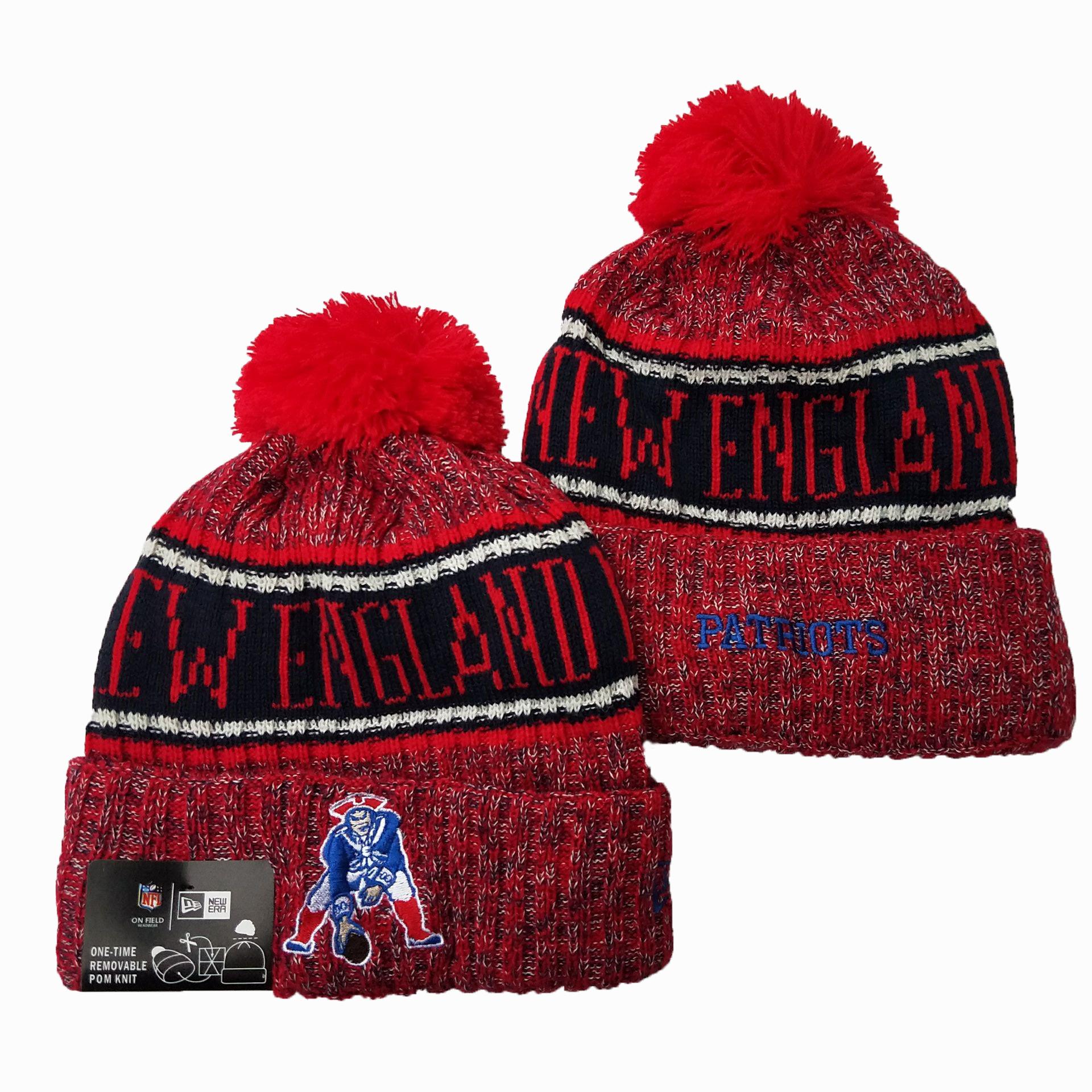 Patriots Team Logo Red Pom Knit Hat YD
