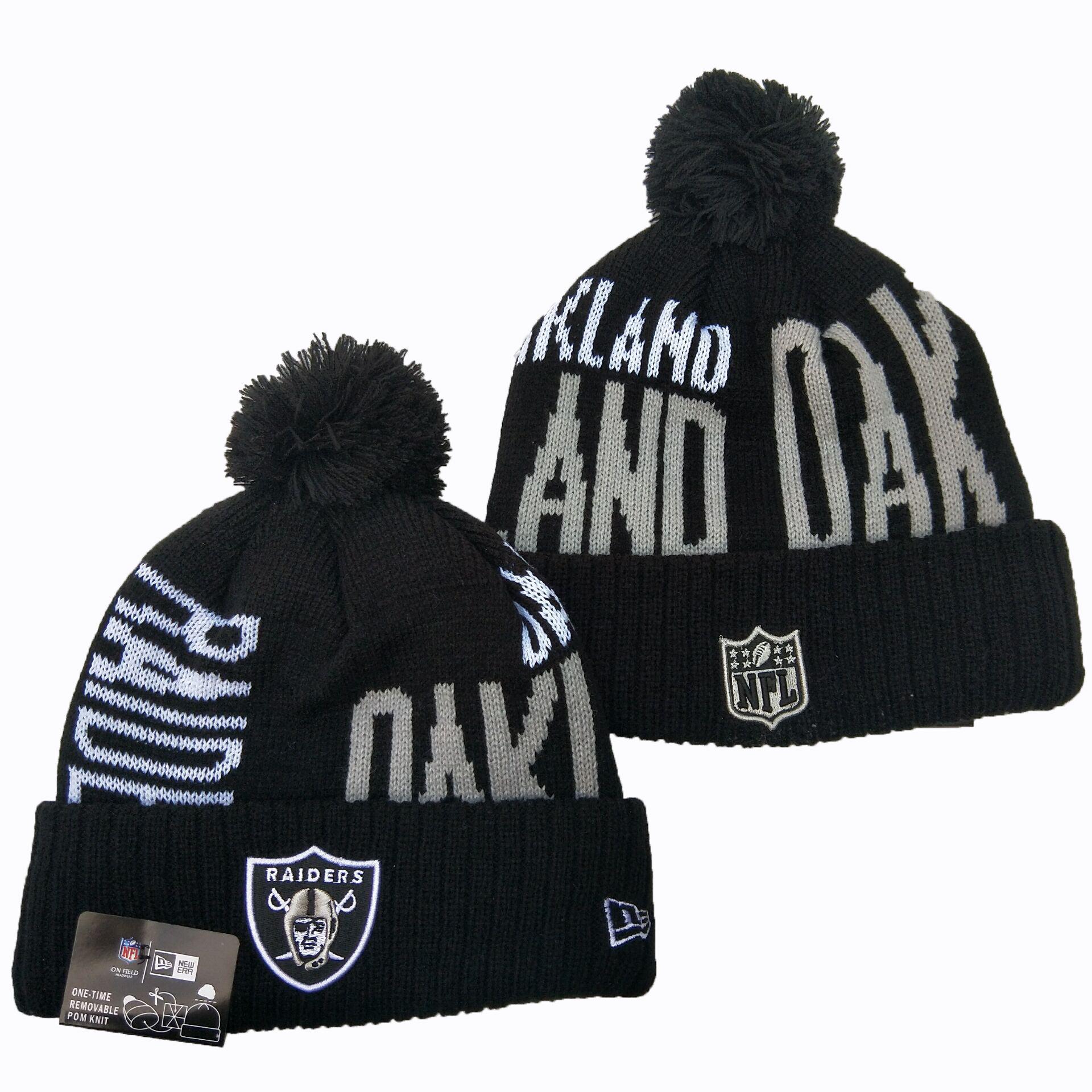 Raiders Team Logo Black Pom Knit Hat YD