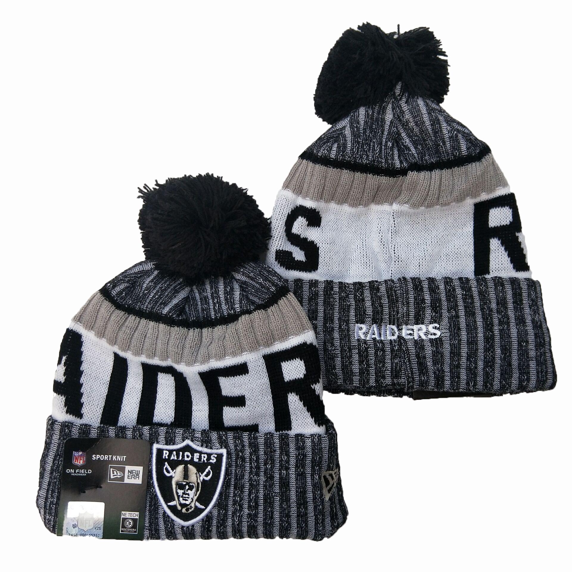 Raiders Team Logo Gray Pom Knit Hat YD