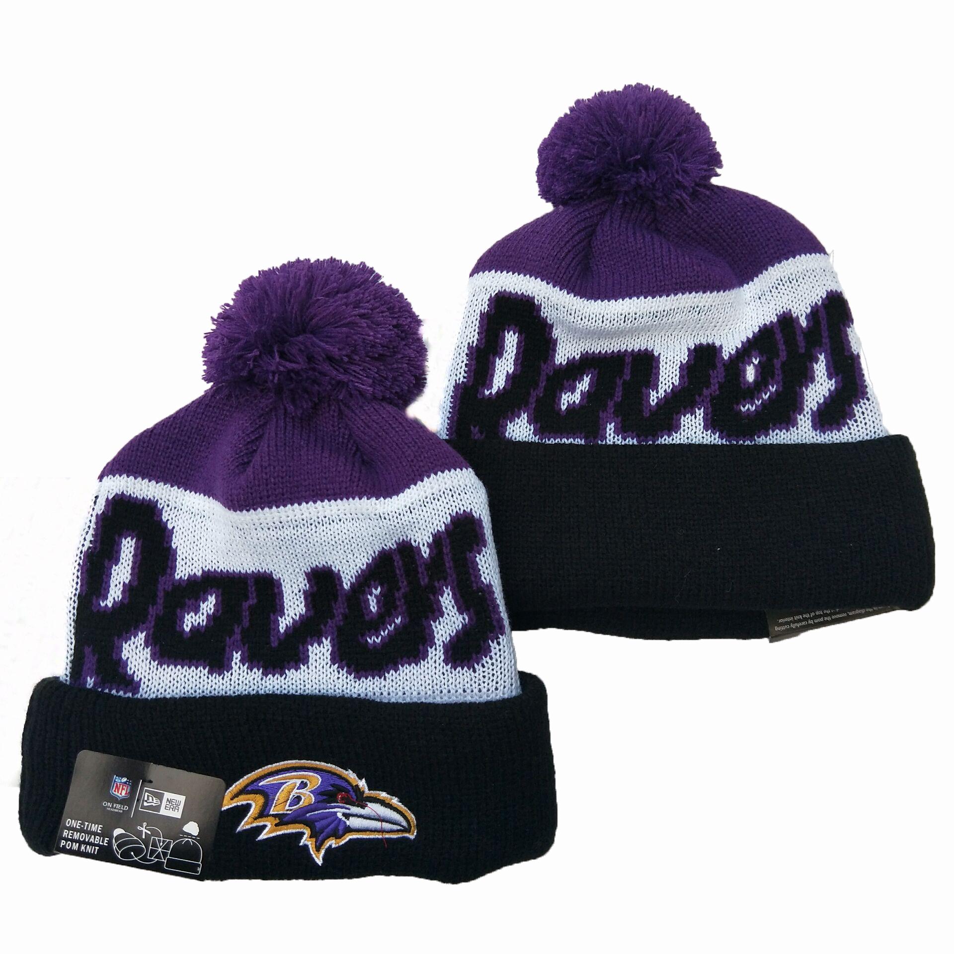 Ravens Team Logo Navy Purple Pom Knit Hat YD