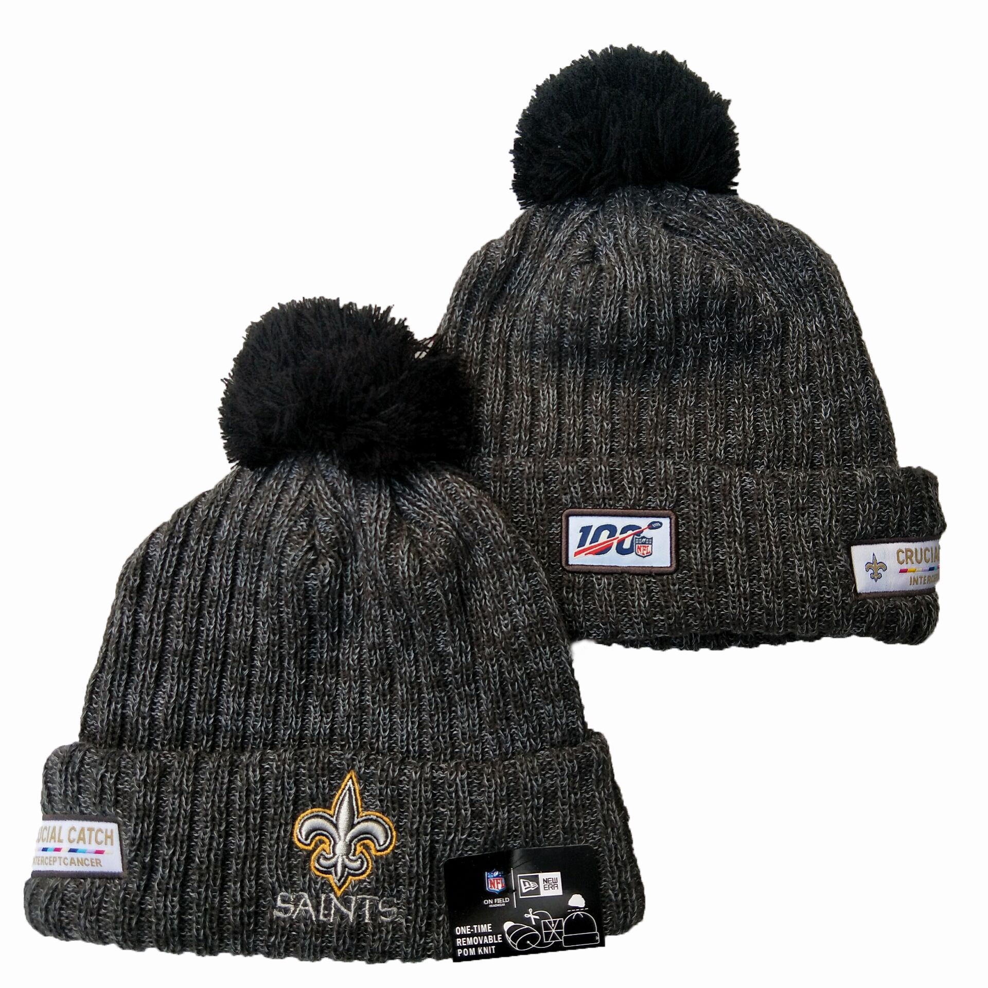 Saints Fresh Logo Gray 100th Season Pom Knit Hat YD