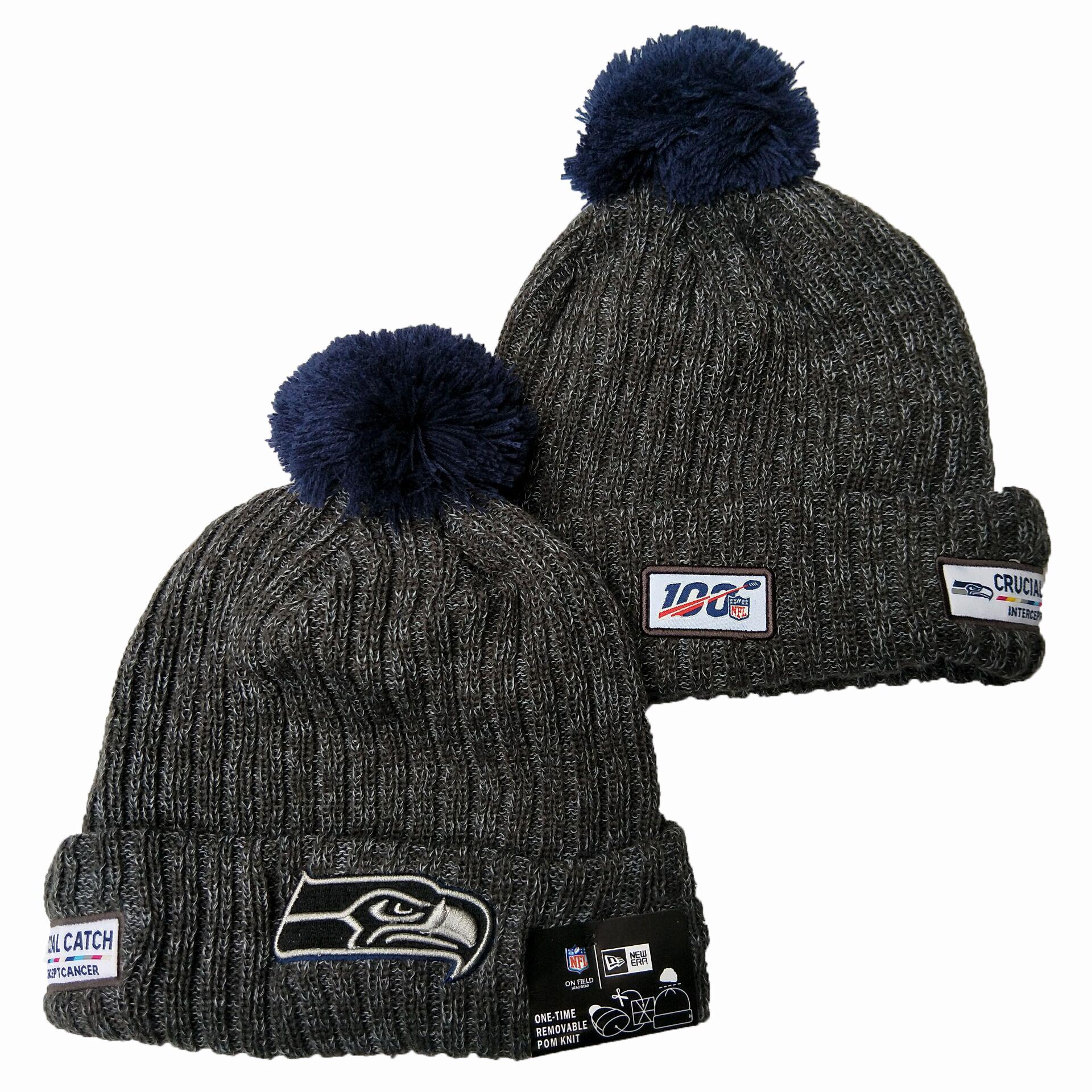 Seahawks Team Logo Gray Pom Knit Hat YD