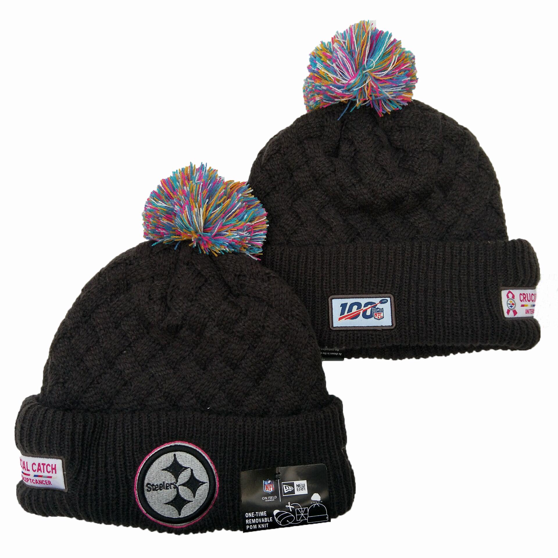 Steelers Team Logo Black 100th Season Pom Knit Hat YD