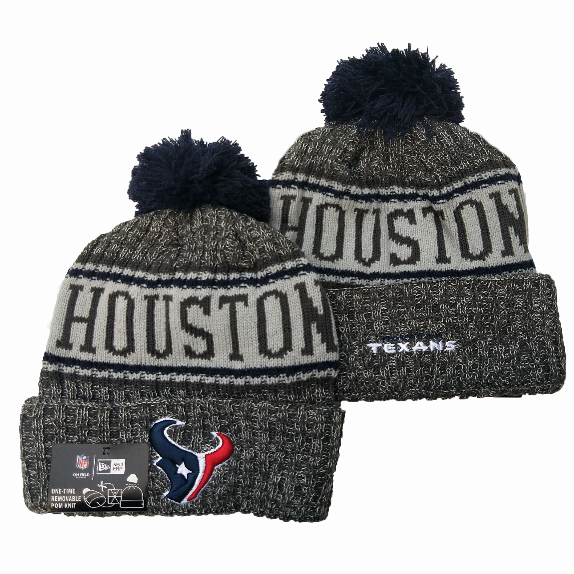 Texans Team Logo Gray Pom Knit Hat YD