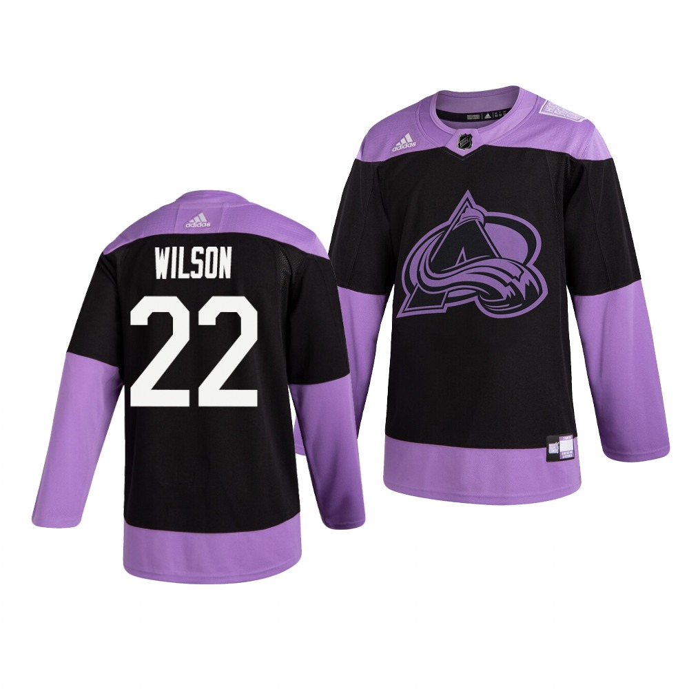 Avalanche 22 Colin Wilson Black Purple Hockey Fights Cancer Adidas Jersey