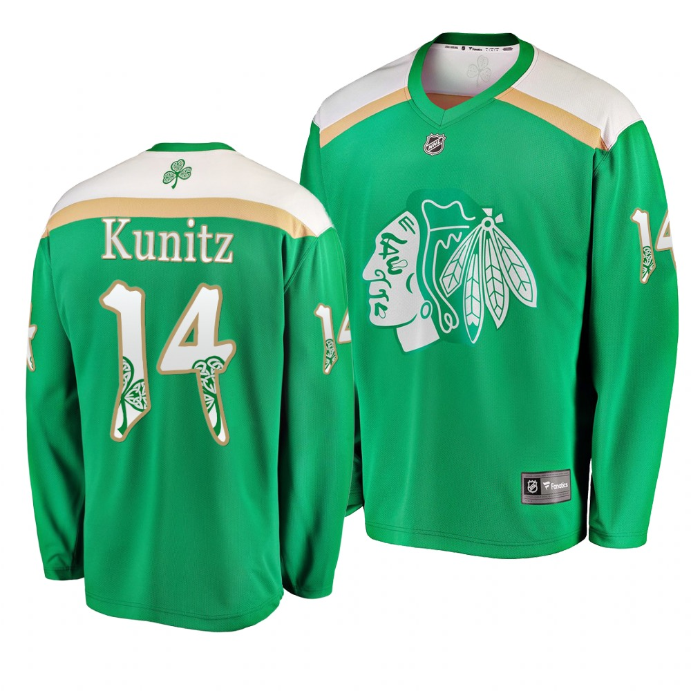 Blackhawks 14 Chris Kunitz Green 2019 St. Patrick's Day Adidas Jersey.jpeg