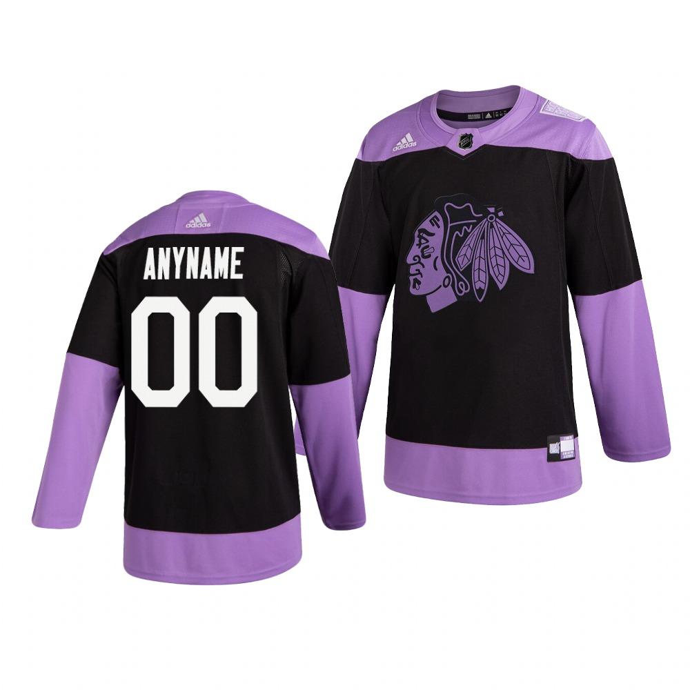 Blackhawks Customized Black Purple Hockey Fights Cancer Adidas Jersey