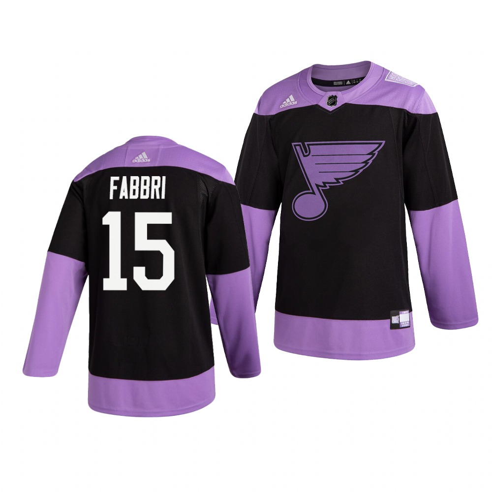 Blues 15 Robby Fabbri Black Purple Hockey Fights Cancer Adidas Jersey