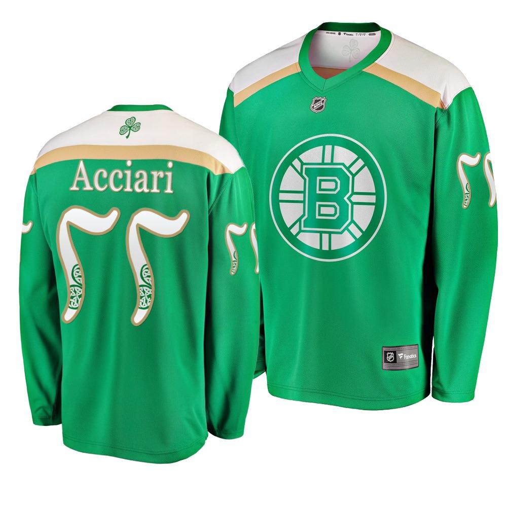 Bruins 77 Noel Acciari Green 2019 St. Patrick's Day Adidas Jersey
