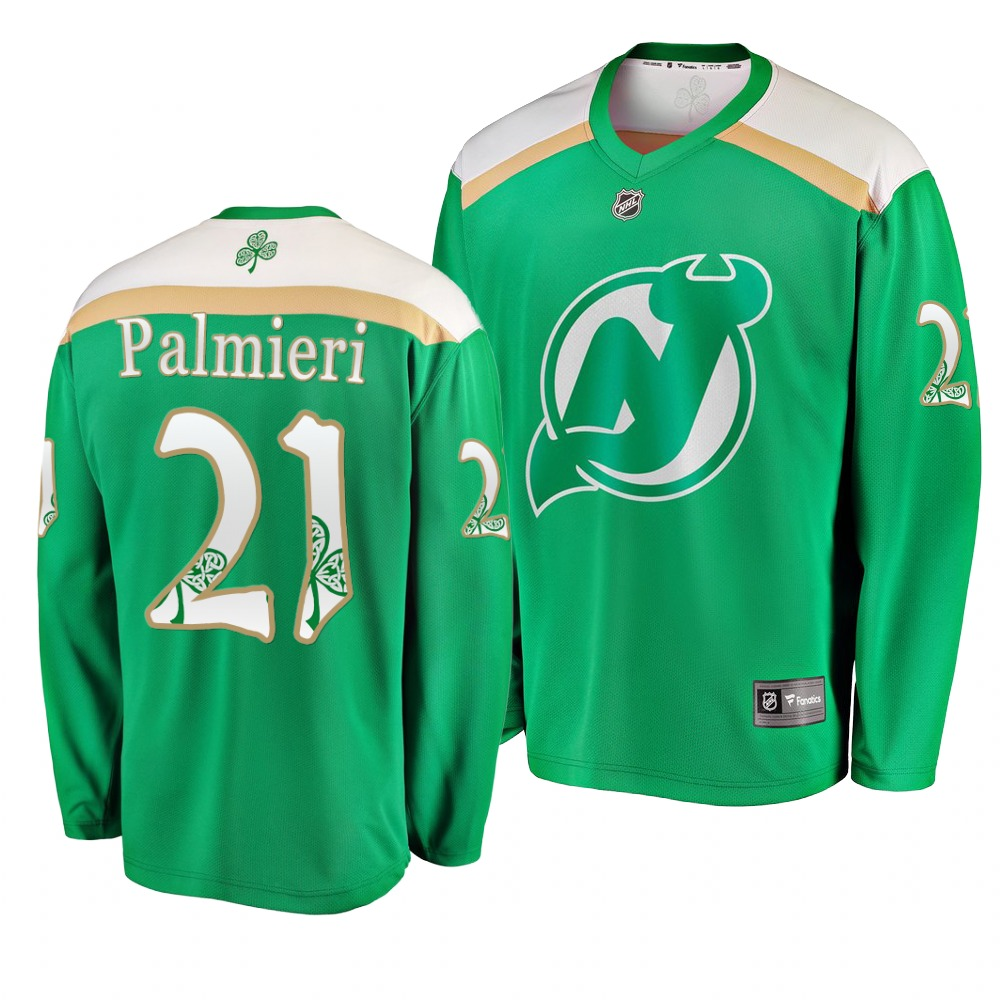 Devils 21 Kyle Palmieri Green 2019 St. Patrick's Day Adidas Jersey