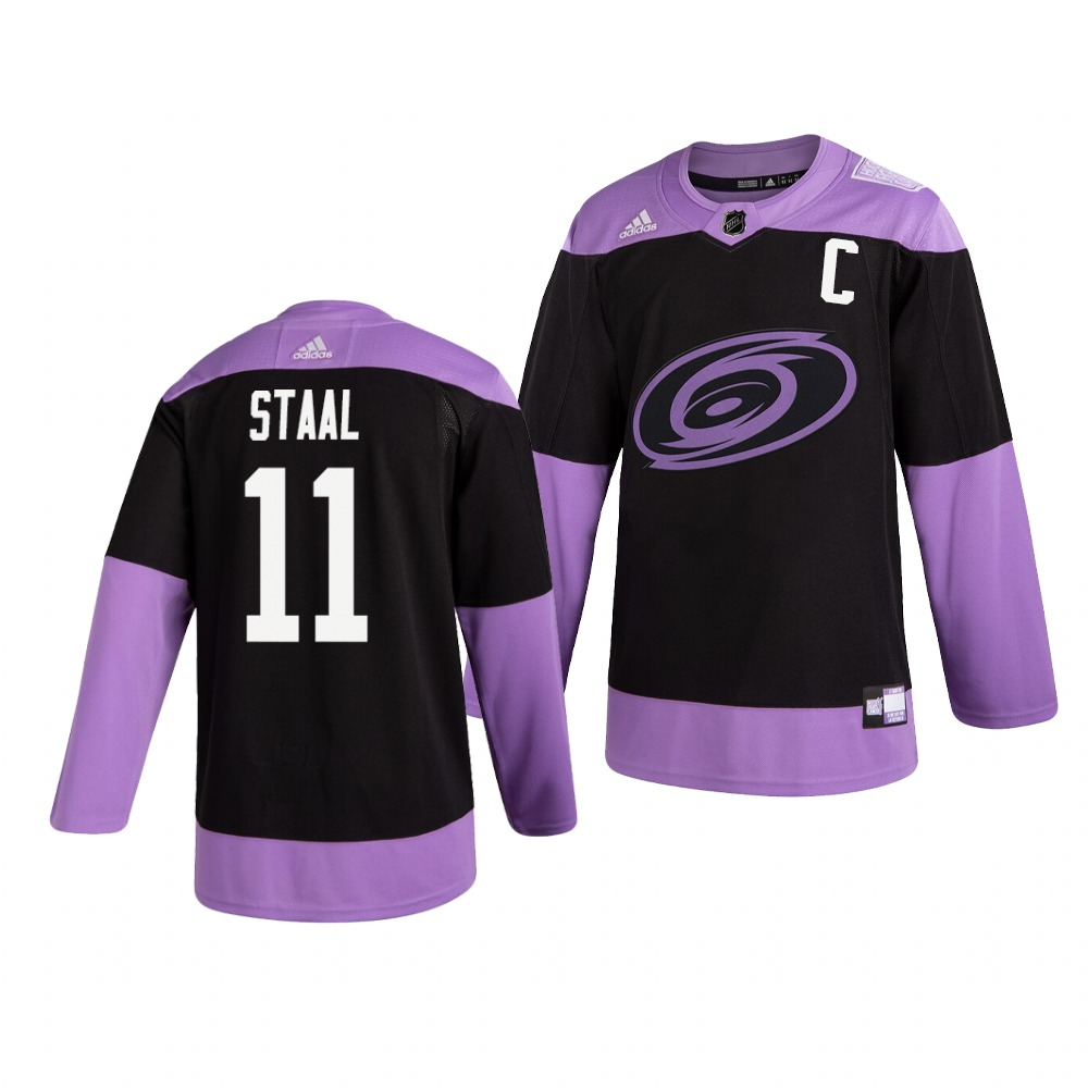 Hurricanes 11 Jordan Staal Black Purple Hockey Fights Cancer Adidas Jersey