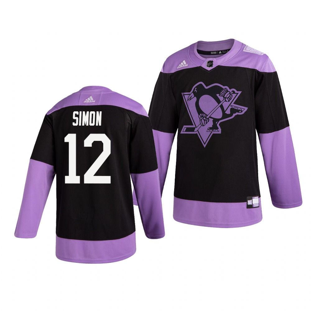 Penguins 12 Dominik Simon Black Purple Hockey Fights Cancer Adidas Jersey