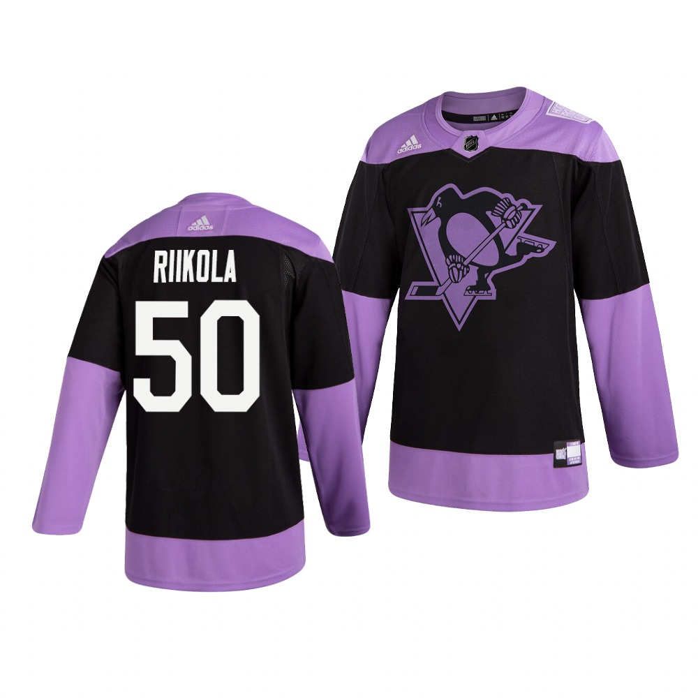 Penguins 50 Juuso Riikola Black Purple Hockey Fights Cancer Adidas Jersey