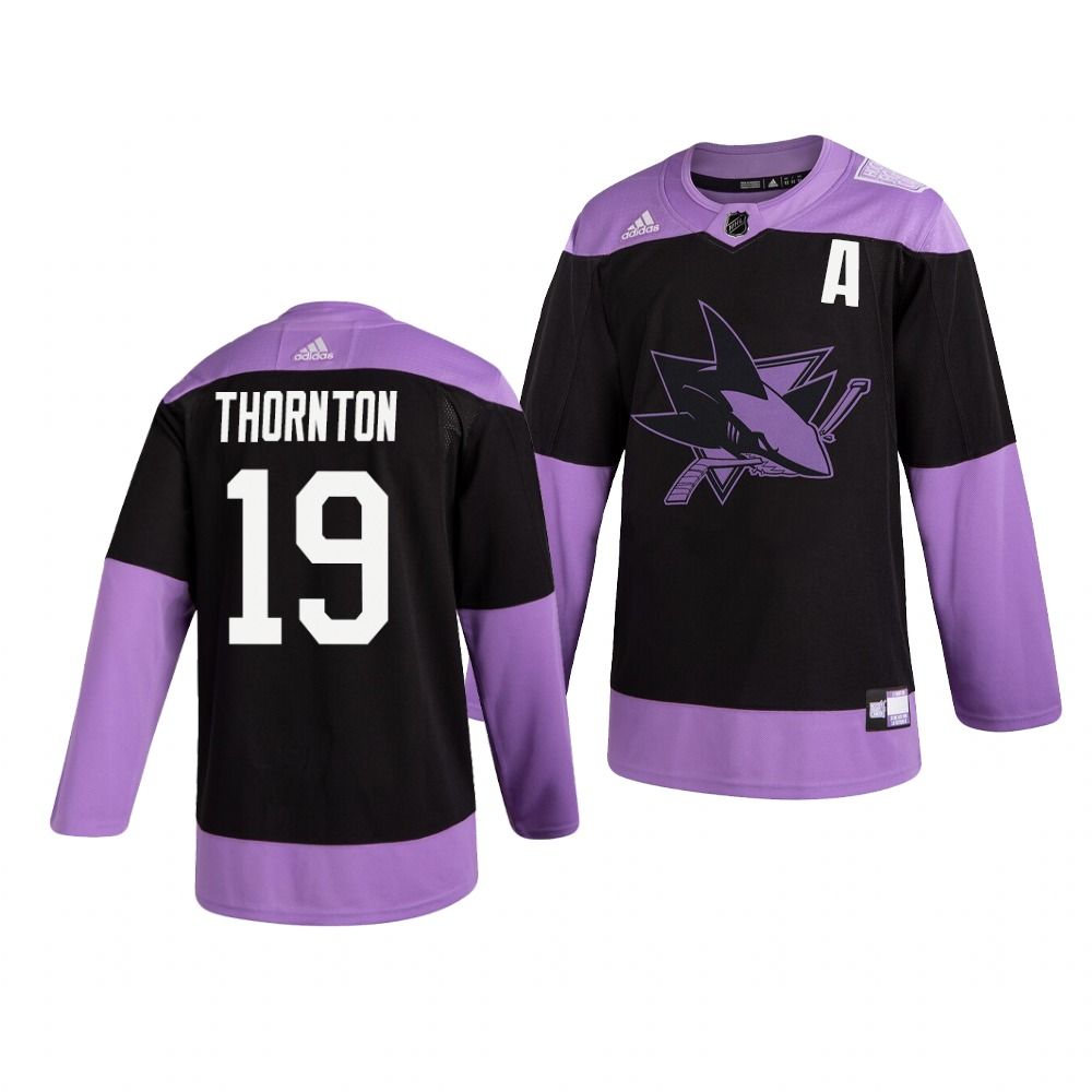 Sharks 19 Joe Thornton Black Purple Hockey Fights Cancer Adidas Jersey