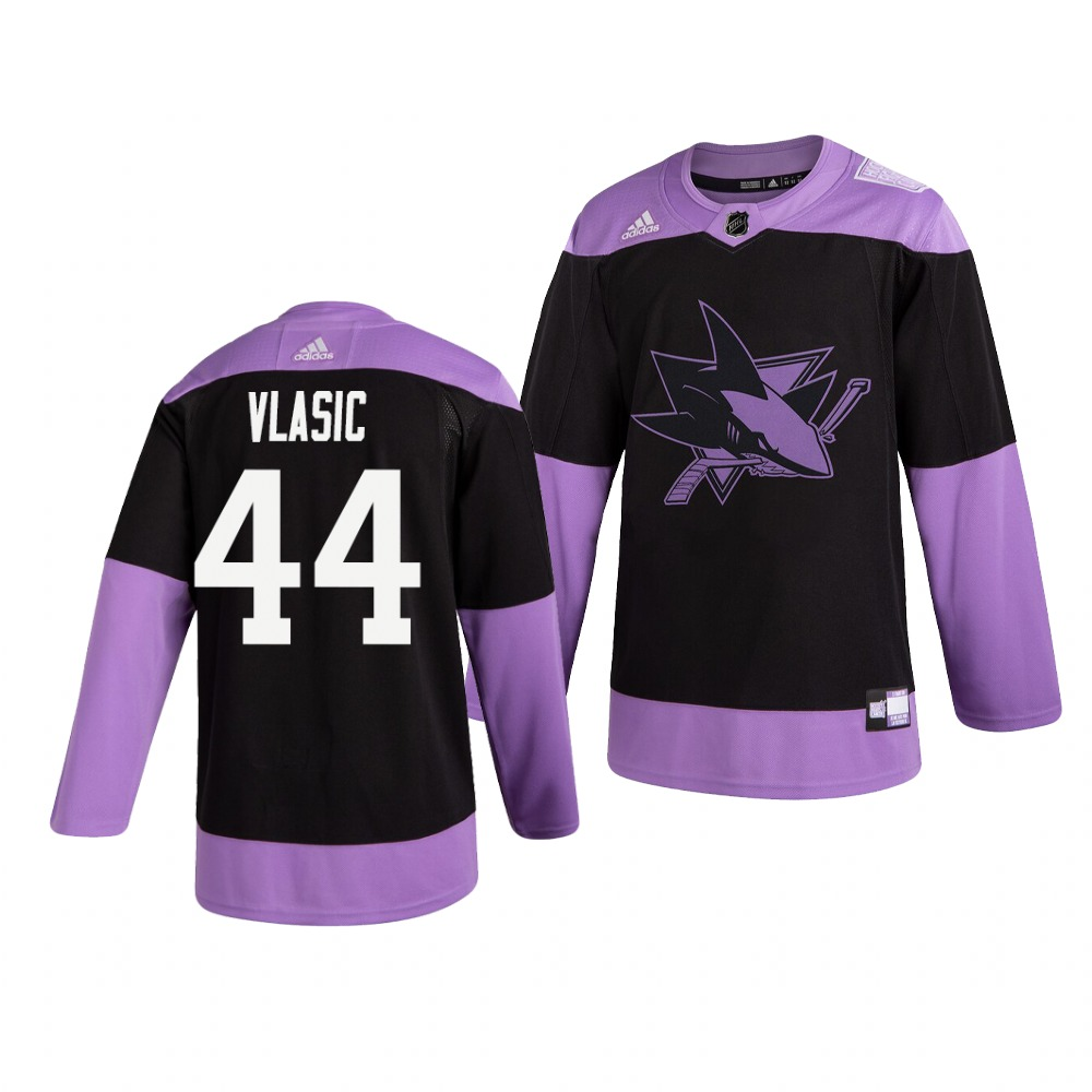 Sharks 44 Marc Edouard Vlasic Black Purple Hockey Fights Cancer Adidas Jersey