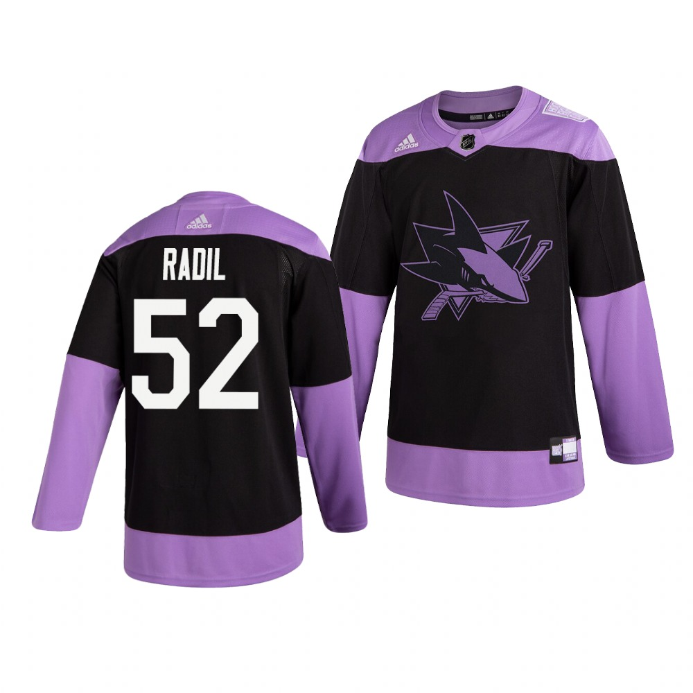 Sharks 52 Lukas Radil Black Purple Hockey Fights Cancer Adidas Jersey