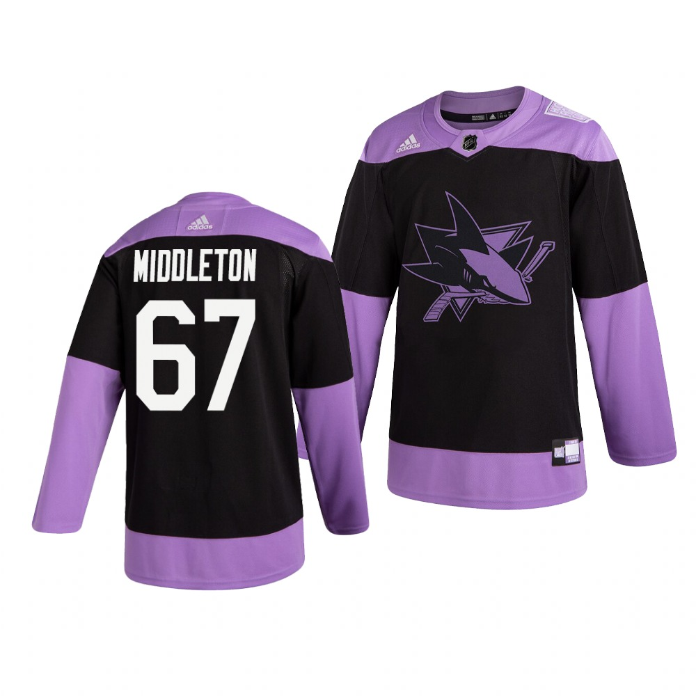 Sharks 67 Jacob Middleton Black Purple Hockey Fights Cancer Adidas Jersey