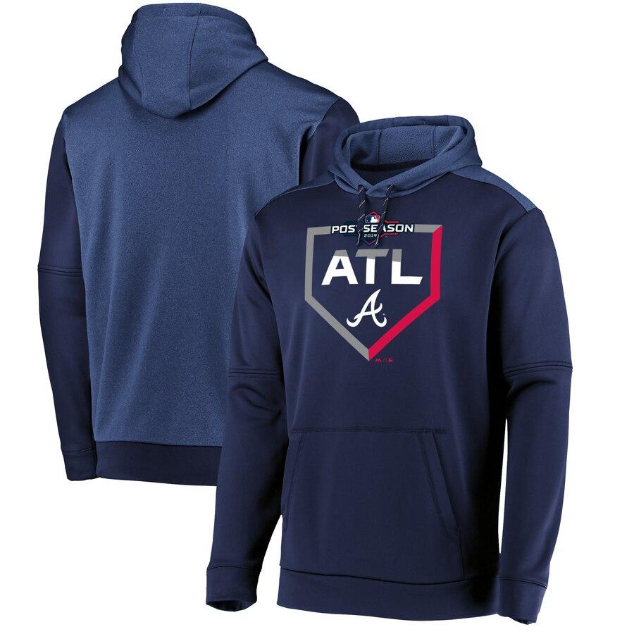 Atlanta Braves Majestic 2019 Postseason Dugout Authentic Pullover Hoodie Navy