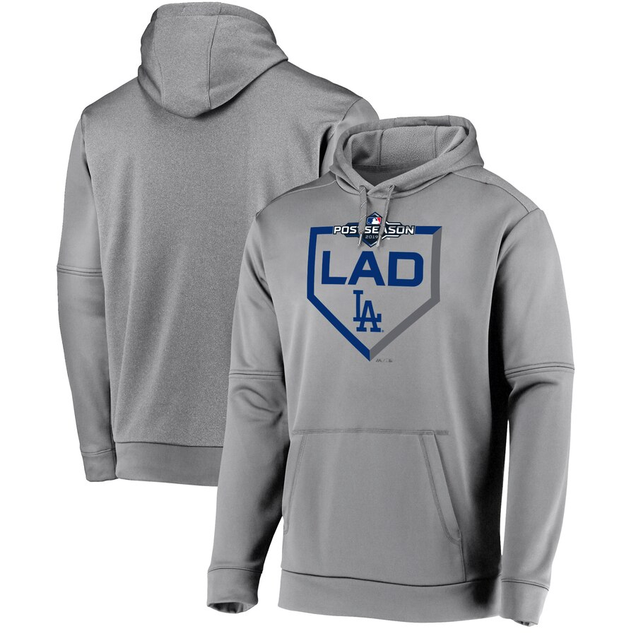 Los Angeles Dodgers Majestic 2019 Postseason Dugout Authentic Pullover Hoodie Gray