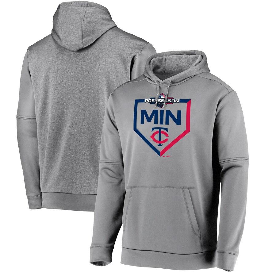 Minnesota Twins Majestic 2019 Postseason Dugout Authentic Pullover Hoodie Gray