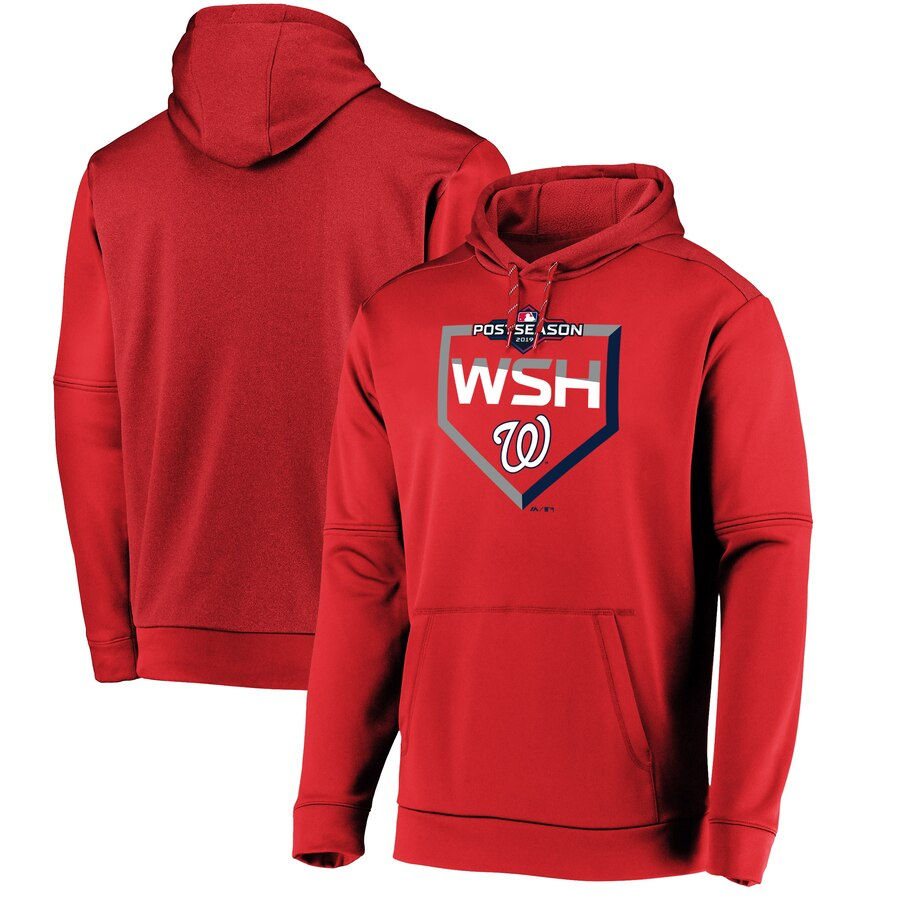 Washington Nationals Majestic 2019 Postseason Dugout Authentic Pullover Hoodie Red